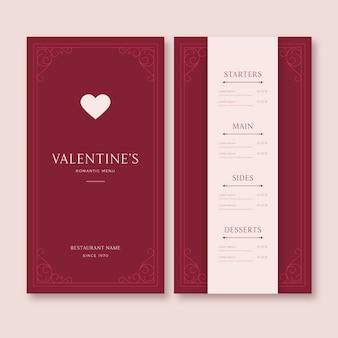 ヴィンテージバレンタインデーの赤いメニューテンプレート