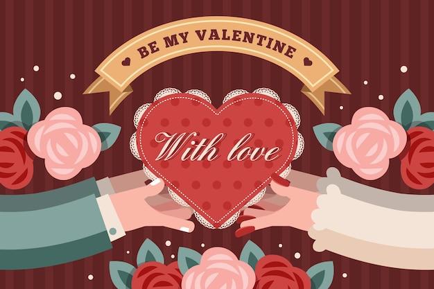 Carta da parati vintage di san valentino