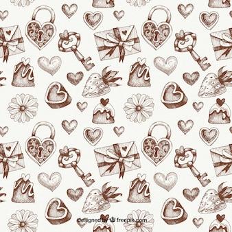 ヴィンテージバレンタインは、パターンをスケッチ