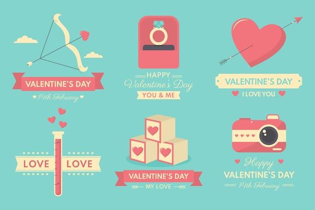 Коллекция значков на день святого валентина