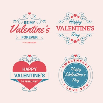Vintage valentines day badge collection