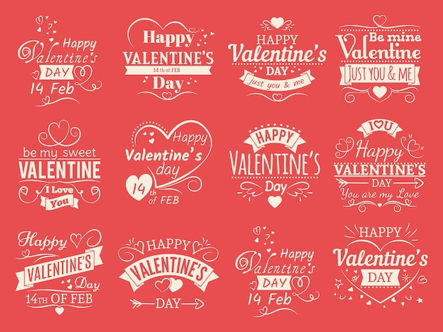 Vintage valentines day  banners for love greeting card - love typographic emblems