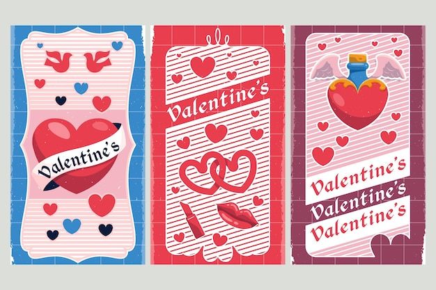 Vintage valentines day banners template Premium Vector