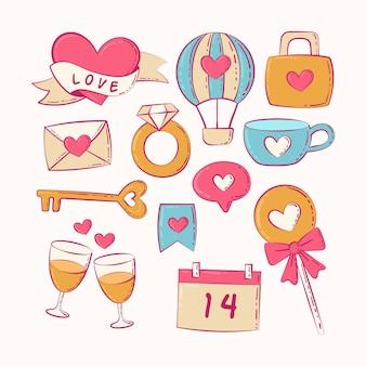 Винтажная коллекция элементов дня святого валентина