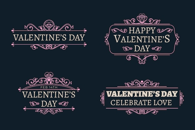 Vintage valentines day label collection