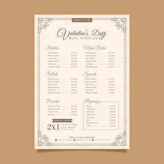 Vintage valentines day menu template