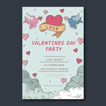 Шаблон плаката для вечеринки по случаю дня святого валентина