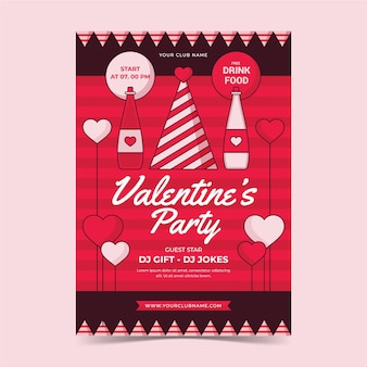 Vintage valentines day party poster template