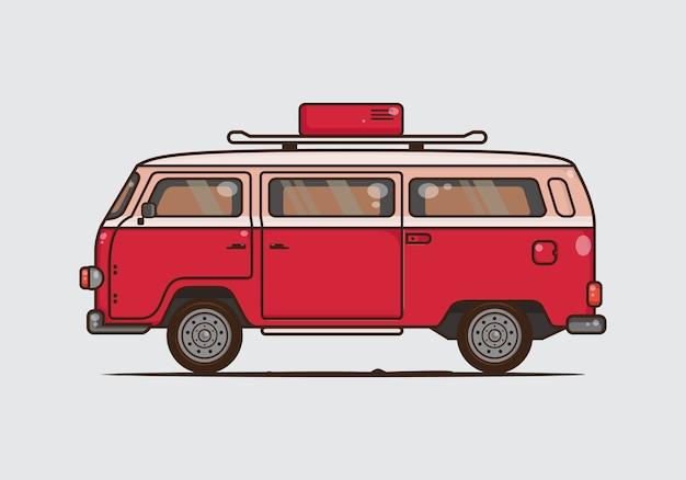 Vintage van combi car illustration. vector flat