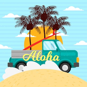 Vintage van wallpaper with palm trees