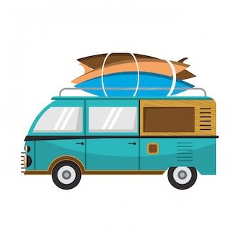 Vintage van with surf tables cartoons