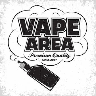 Vintage vape lounge logo , emblem of vape club or house, monochrome typography emblem, print stamps with easy removable grange,