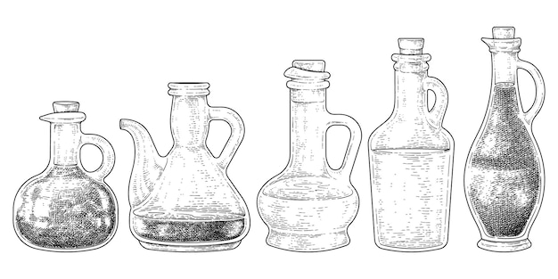 Vintage variety of jar glass mug with cork stopper collection hand drawn sketch vector illustration
