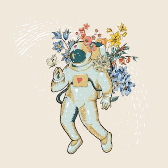 Vintage vector astronaut illustration with flowers. science fiction, hand drawn space,