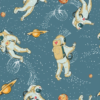 Vintage vector astronaut in space seamless pattern, planet and stars. science fiction, hand drawn wallpaper