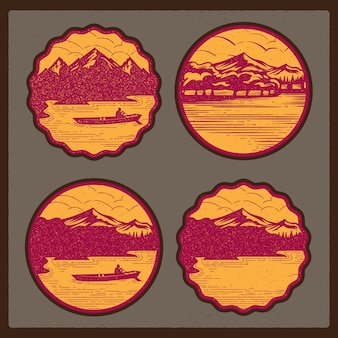 Vintage vector badge illustration of nature, mountain and lake