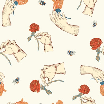 Vintage vector floral seamless pattern with woman hand. rose botanical flowers texture. regency baroque style hand-drawn background