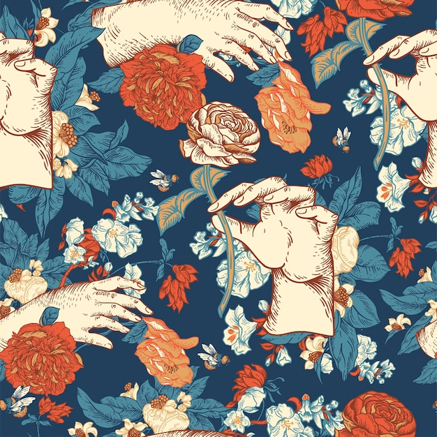 Vintage vector floral seamless pattern with woman hand. rose botanical flowers texture. regency baroque style hand-drawn navy blue background