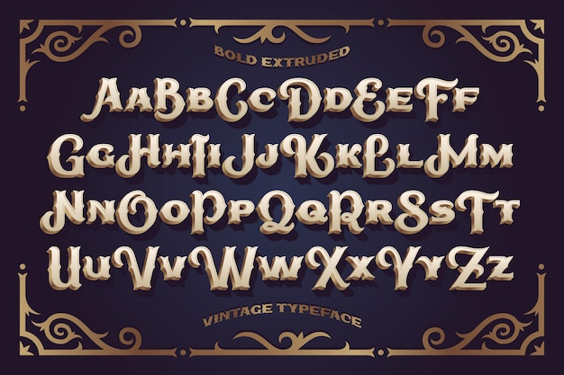 Vintage vector font with decorative ornament