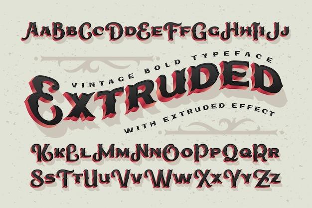 Vintage vector font with decorative ornament