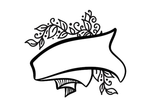 Винтажная векторная рамка с лентой и местом для текста с цветами и листьями на белом фоне.