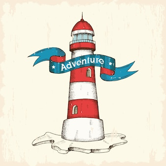 Vintage vector hand drawn lighthouse