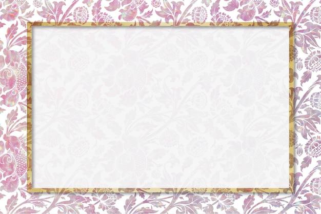Remix di cornice floreale olografica vettoriale vintage dall'opera d'arte di william morris