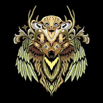 野生動物アート2のビンテージベクトルイラスト