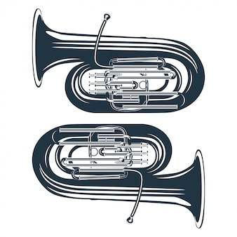 Vintage vector illustration of a trumpet