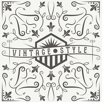 Vintage vector label with swirls and flowers elements