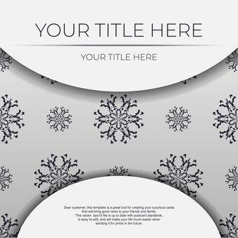 抽象的なパターンを持つヴィンテージベクトルライトカラーポストカードテンプレート。マンダラ飾り付きの印刷可能な招待状のデザイン。