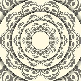 Винтаж векторный шаблон светло-кремового цвета открытки с абстрактными узорами. готовый к печати дизайн приглашения с орнаментом мандалы.
