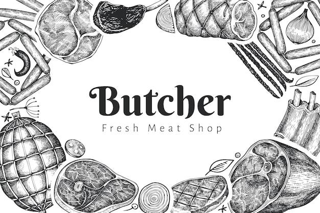 ヴィンテージベクトル肉製品デザインテンプレート。手描きのハム、ソーセージ、ハモン、スパイス、ハーブ。ローフードの材料。レトロなイラスト。レストランのメニューに使用できます。