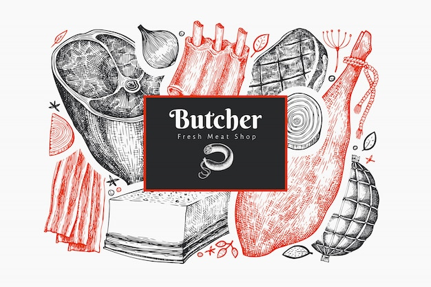 Винтаж векторный шаблон оформления мясных продуктов. ручной обращается ветчина, сосиски, хамон, специи и травы. ретро иллюстрация. можно использовать для меню ресторана.