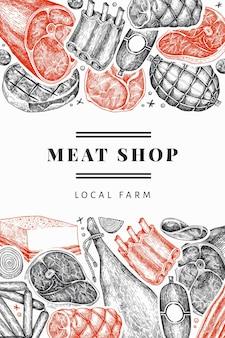 ヴィンテージベクトル肉製品デザインテンプレート。手描きのハム、ソーセージ、ハモン、スパイス、ハーブ。レトロなイラスト。レストランのメニューに使用できます。