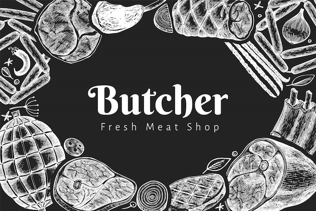 ビンテージベクトル肉製品デザインテンプレートです。手描きのハム、ソーセージ、ハモン、スパイス、ハーブ。チョークボードのレトロなイラスト。レストランのメニューに使用できます。