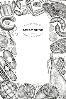 Vintage vector meat products design template.