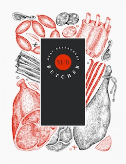 빈티지 벡터 육류 제품. 손으로 그린 햄, 소시지, 잼, 향신료와 허브. 레트로 일러스트입니다. 식당 메뉴에 사용할 수 있습니다.