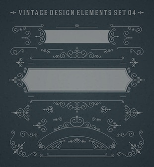 Vintage vector swirls ornaments decorations design elements on chalkboard