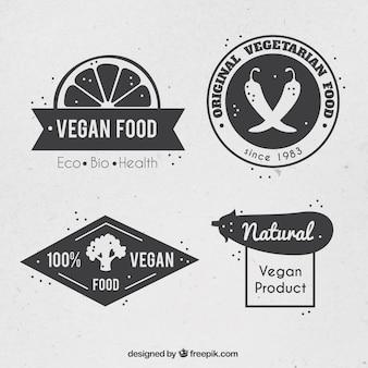 Vintage loghi cibo vegan impostati