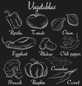 Vintage vegetables hand-drawn chalk blackboard