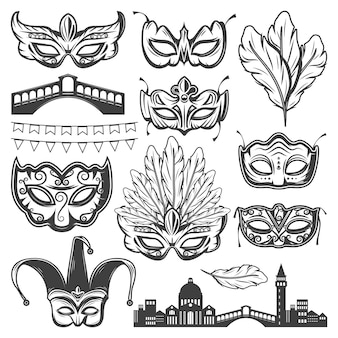 Vintage venice carnival elements set with venetian cityscape bridge different masks feathers and garland isolated