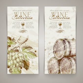 Vintage vertical banners with hand drawn grapes and casks