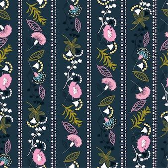 빈티지 세로 스트라이프 리버티 꽃 원활한 패턴