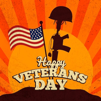 Vintage veterans day concept