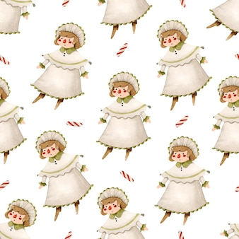 ヴィンテージビクトリア朝の人形の水彩画のシームレスなパターン
