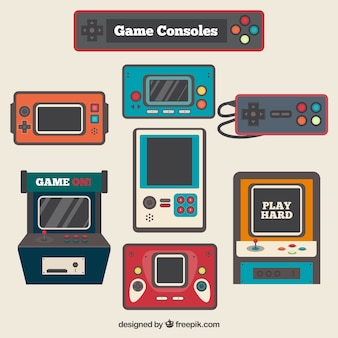 Vintage video game consoles in flat design
