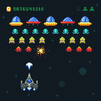 Vintage video space arcade game pixel with spaceship shooting bullets and aliens