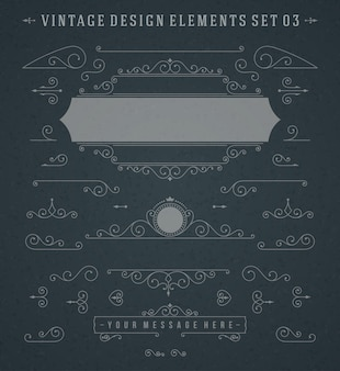 Vintage vignettes swirls ornaments decorations design elements vector set