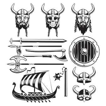 Vintage viking elements set